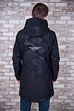 Чоловіча демісезонна куртка (подовжена), чорного кольору, фото 3