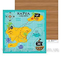Папір двосторонній - Карта сокровищ, 30,5х30,5 см