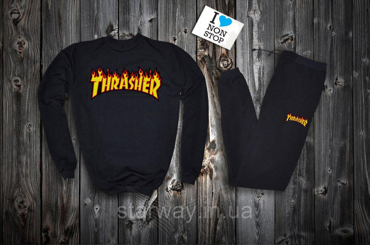 Трикотажный стильный костюм Thrasher logo   black