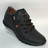 """Мужские кожаные кроссовки """"Ecco"""" /  черные, фото 1"""