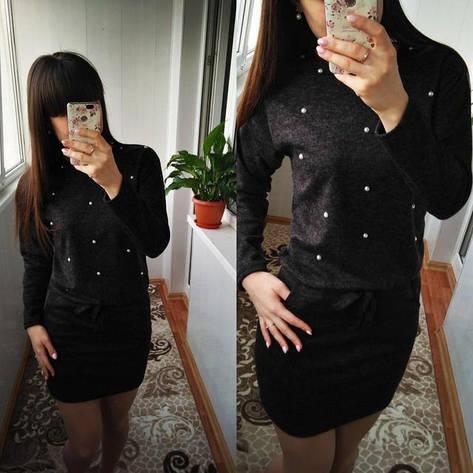 """Женское платье с бусинами и завязками на талии из ангоры """"Мартина"""" большой размер, черное, фото 2"""