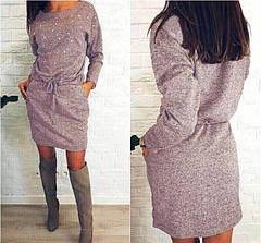 Серое платье-туника из ангоры выше колен с бусинками и карманами, фото 3
