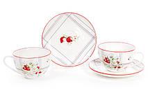Чайный набор Земляничная фантазия: 6 фарфоровых чашек 210мл с блюдцами