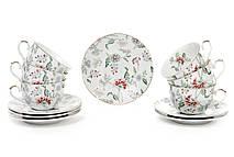 Чайный набор фарфоровый: 6 чашек 250мл с блюдцами Альпийский сад