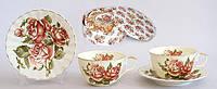 Чайный набор 12 предметов: 6 чашек фарфоровых 250мл с блюдцами Корейская роза