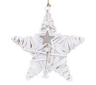 Новогодний подвесной декор из ивы Звезда 30см с подвеской