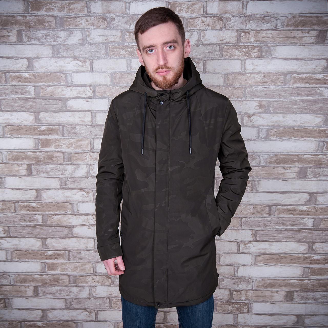 Чоловіча демісезонна куртка (подовжена), кольору хакі