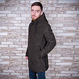 Чоловіча демісезонна куртка (подовжена), кольору хакі, фото 2