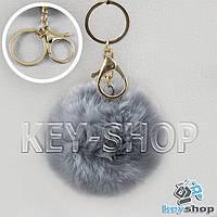 Серый пушистый брелок шарик из натурального меха с кольцом, карабином на сумку, рюкзак