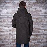 Чоловіча демісезонна куртка (подовжена), кольору хакі, фото 3