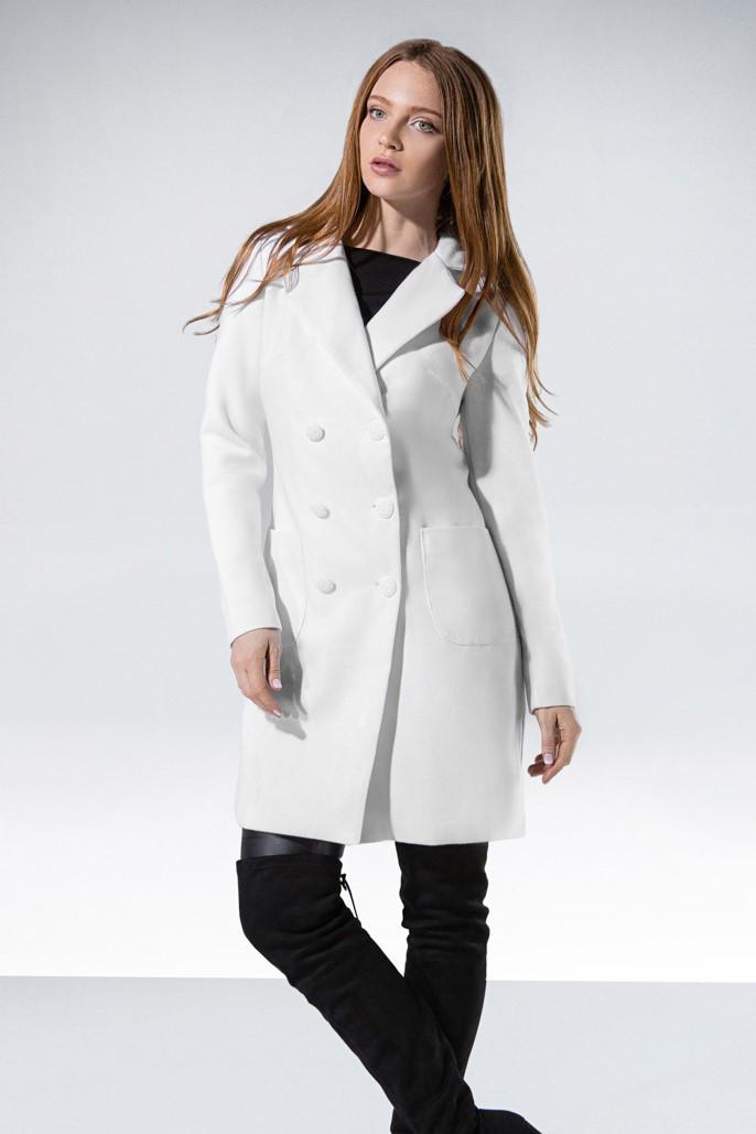 00bb71b82eb Кашемировое женское пальто-трапеция весна осень цвет белый размер 42 44 46  48 - ODUVANCHYK