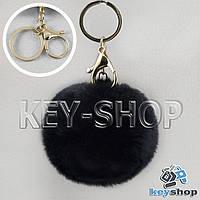 Черный пушистый брелок шарик из натурального меха с кольцом, карабином на сумку, рюкзак