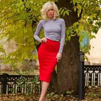 Трикотажный женский костюм: гольф под гордо и юбка миди, с 40 по 46рр