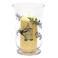 Стеклянная ваза/подсвечник с черным рисунком 20см