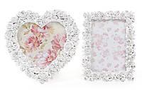 Фоторамка настольная из искусственного камня в форме сердца Розы, цвет - состаренный белый