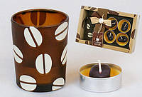 Набор: 2 свечи + стеклянный подсвечник