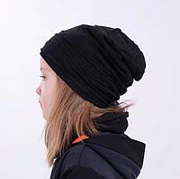 Детская шапка бини со швами наружу. Черный. Размеры: 48-50, 50-52, 52-54см