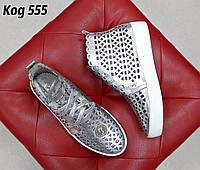 Кожаные кеды серебро Код 555 серебро, фото 1