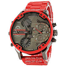 Мужские часы Diesel Brave Steel Black-Red Silicone, кварцевые, элитные часы Дизель Брейв, реплика, отличное качество!