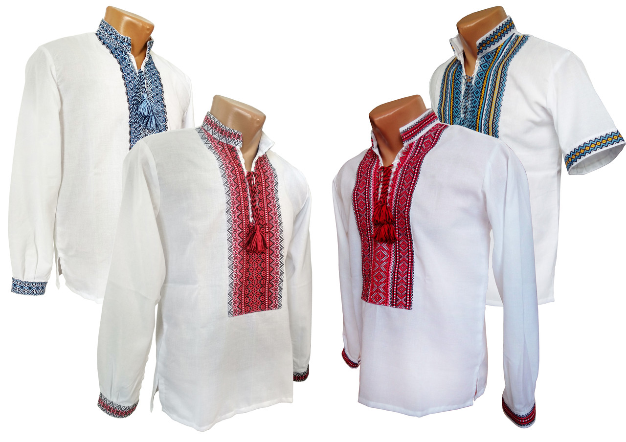 Украинская рубашка с вышивкой для мальчика подростка с воротничком стойкой
