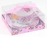 Чашка фарфоровая с блюдцем 450мл Яблоневый цвет