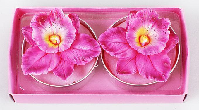 Набор декоративных свечей в металлических подсвечниках 2шт Орхидея 4.5см