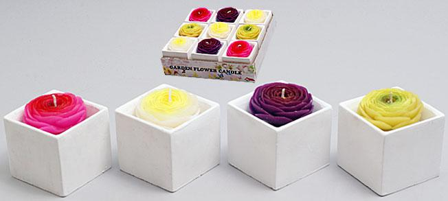 Свеча в керамическом горшочке 7.4см Роза, 4 вида в дисплей коробке
