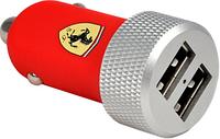Автомобильное зарядное Ferrari 2-USB Car Charger 2.1A  with Connector 30-pin/Lightning - Red