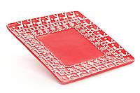 Блюдо керамическое новогоднее квадратное 20.5см, цвет - красный с белым
