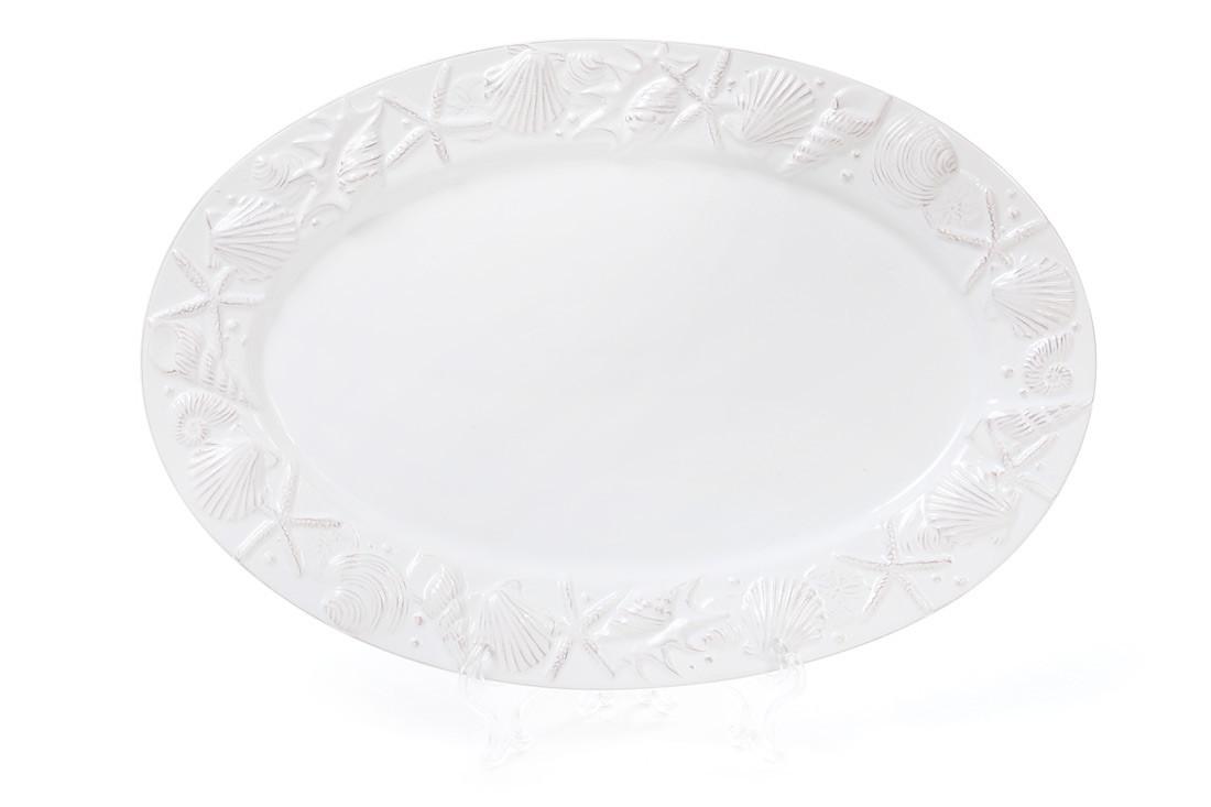 Блюдо керамическое овальное 34см Морские мотивы, цвет - белый
