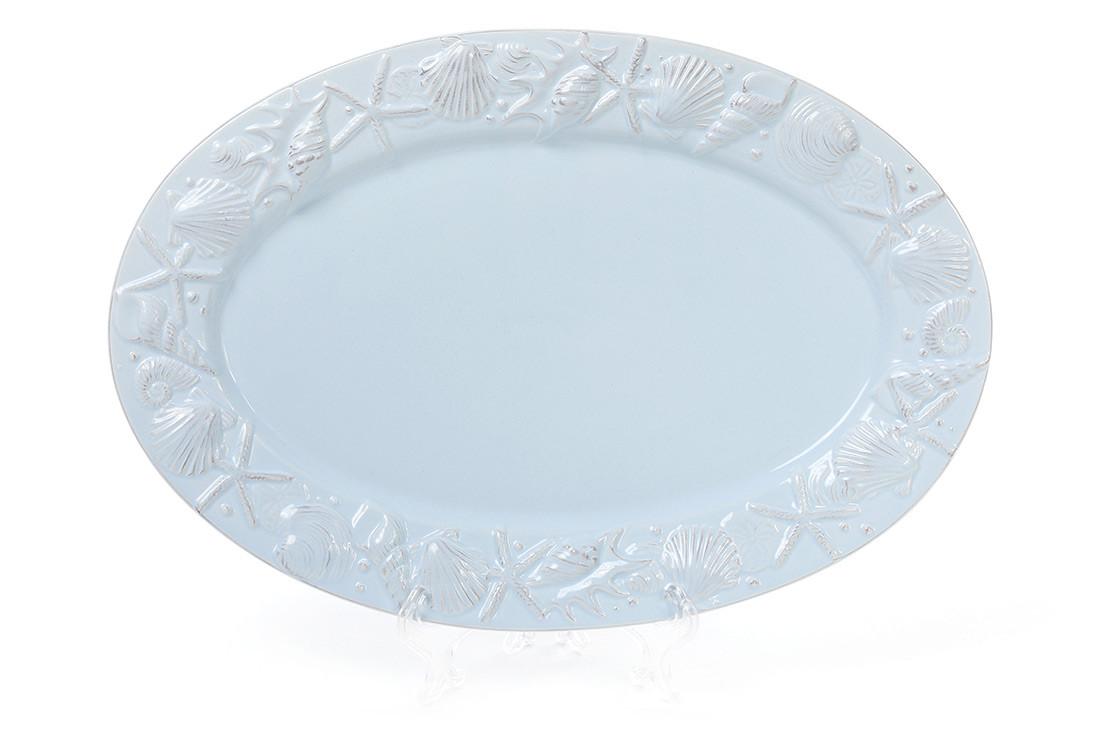 Блюдо керамическое овальное 34см Морские мотивы, цвет - светло-голубой
