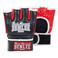 Перчатки кожаные для бокса и единоборств  BENLEE ММА COMBAT черного цвета / перчатки для ММА