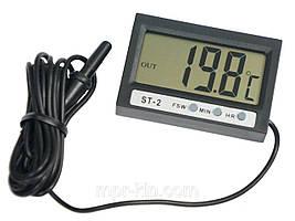 Термометр цифровий Elitech ST-2 ( -50°C .... +70°C ) з двома датчиками температури, годинами
