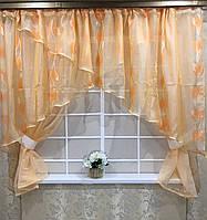"""Кухонные шторы """"Каир"""" персик"""