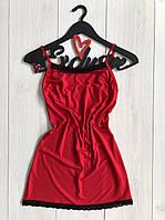 Красный пеньюар с кружевом из вискозы ТМ Exclusive.