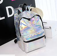 Рюкзак голографический серебристый  /  женский молодежный стильный модный рюкзак