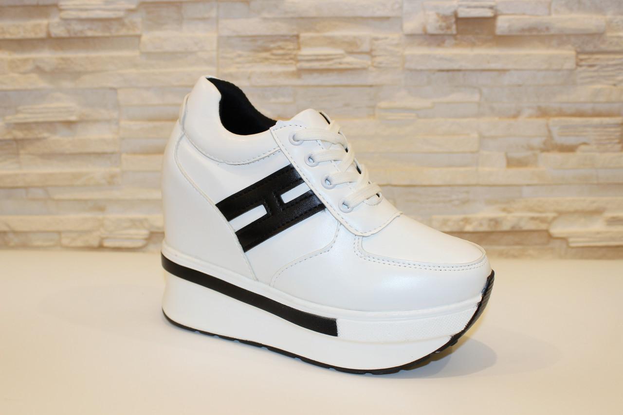 c4d6425efc99 Кроссовки сникерсы белые с черным женские Т948 - купить по лучшей ...