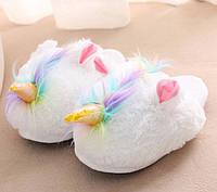 Домашние тапочки игрушки белые Единороги с ушками / тапочки в подарок