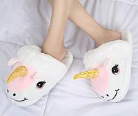 Тапочки игрушки Единороги с розовой гривой /  молодежные  стильные  теплые женские  модные тапочки