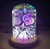 """3D ночник """"Сердечки"""" / 3d светильник настольный подарочный"""