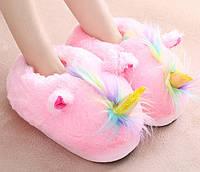 Домашние закрытые тапочки игрушки розовые Единороги /  молодежные  стильные  теплые женские модные тапочки