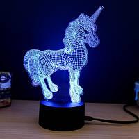 """Ночник 3D """"Единорог"""" / 3d светильник настольный подарочный ночник оригинальный детский"""