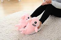 Тапочки-игрушки розовые Акулы /  молодежные  стильные  теплые ,женские модные тапочки