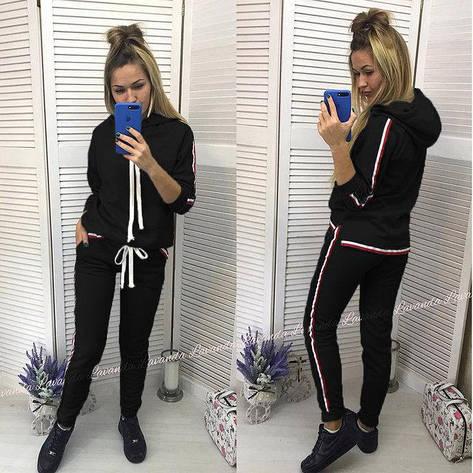 """Спортивный женский костюм """"Osteen"""" толстовка с капюшоном и штаны на манжетах с лампасами черный, фото 2"""