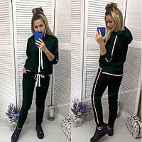 """Спортивный женский костюм """"Osteen"""" толстовка с капюшоном и штаны на манжетах с лампасами зеленый"""