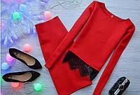 Молодежный костюм кофта длинный рукав с французским кружевом +юбка  красный