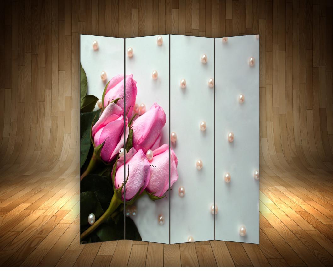 """Ширма декоративна"""" Троянди з перлами"""""""