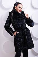 Зимняя шуба женская черная каракуль м-117