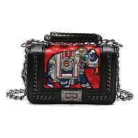 Черная сумка Слон в стиле Chanel / женская модная маленькая молодежная сумочка на плечо