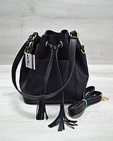 Молодежная сумка из эко-кожи  Люверс черного цвета / сумка рюкзак на затяжках